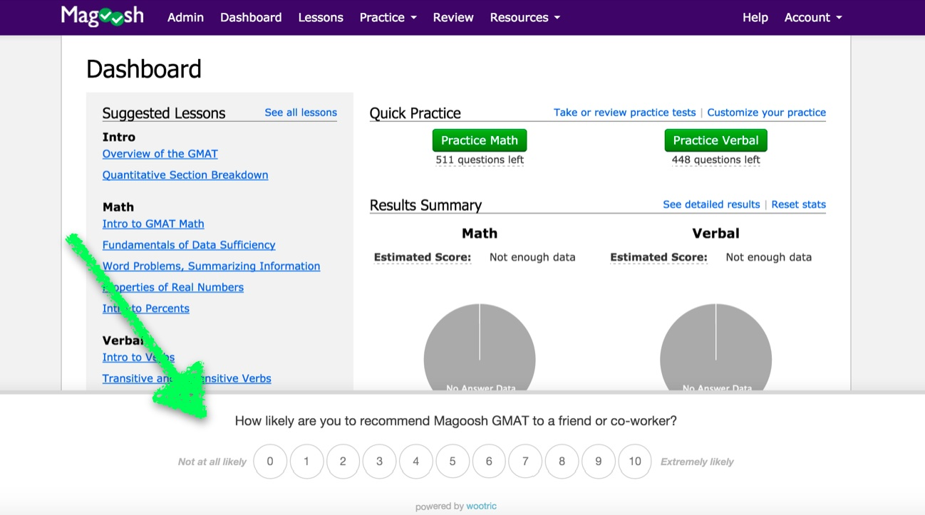 Wootric NPS Survey in Magoosh Dashboard