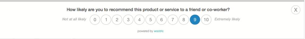 In-app NPS Survey- Wootric