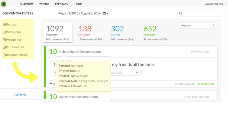 Enhancement to Feedback Tab, respondent info on email scroll over
