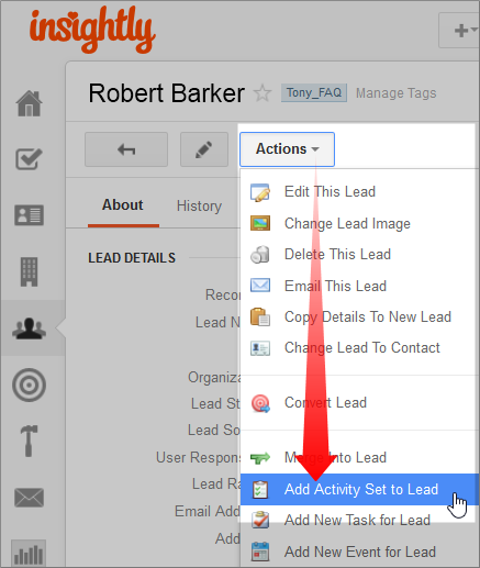 Adding an Activity Set to a Customer Record in Insightly CRM