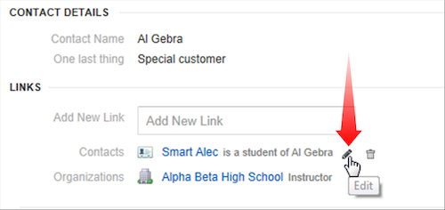In CRM records, you can add links to organizations and people your customers are connected to.