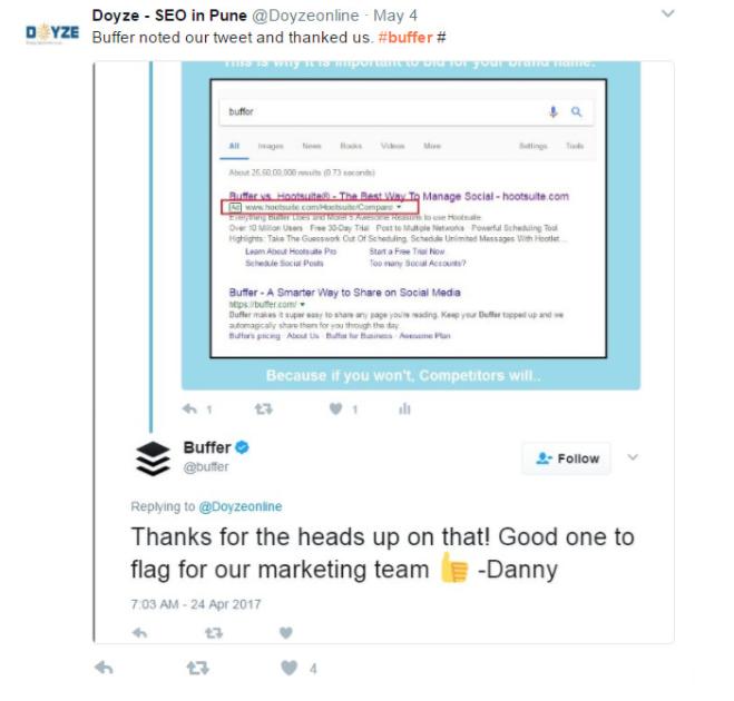 Buffer's social listening on Twitter