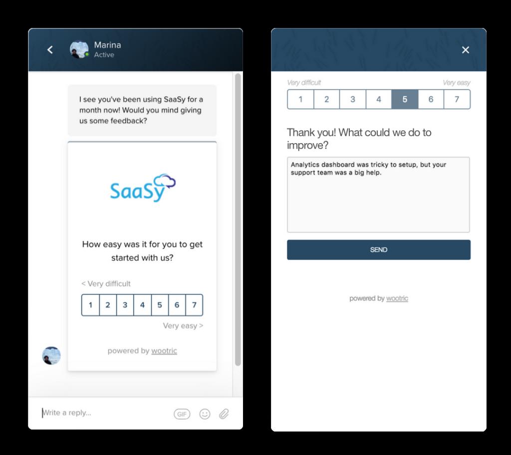 Customer Effort Score Survey in Intercom Messenger