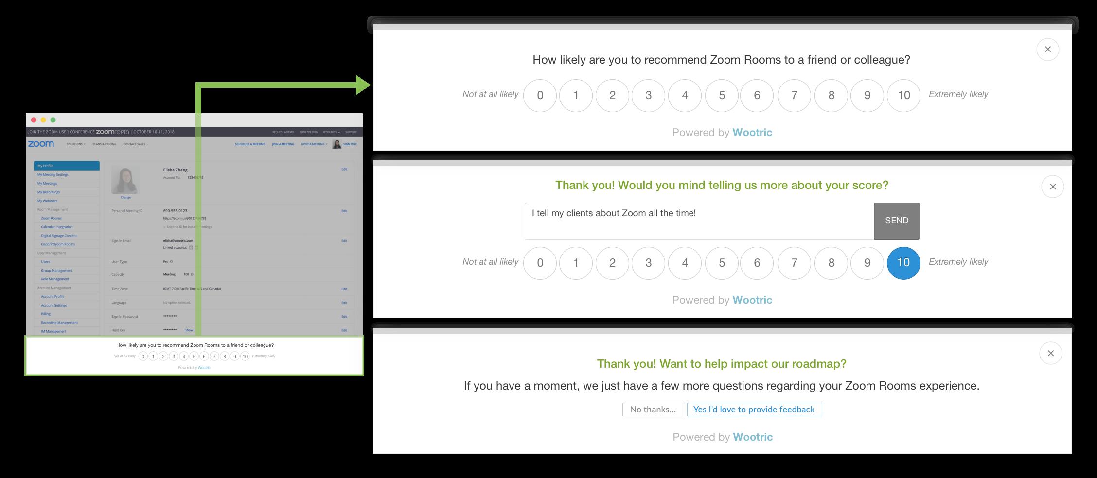 Wootric in-app web NPS survey