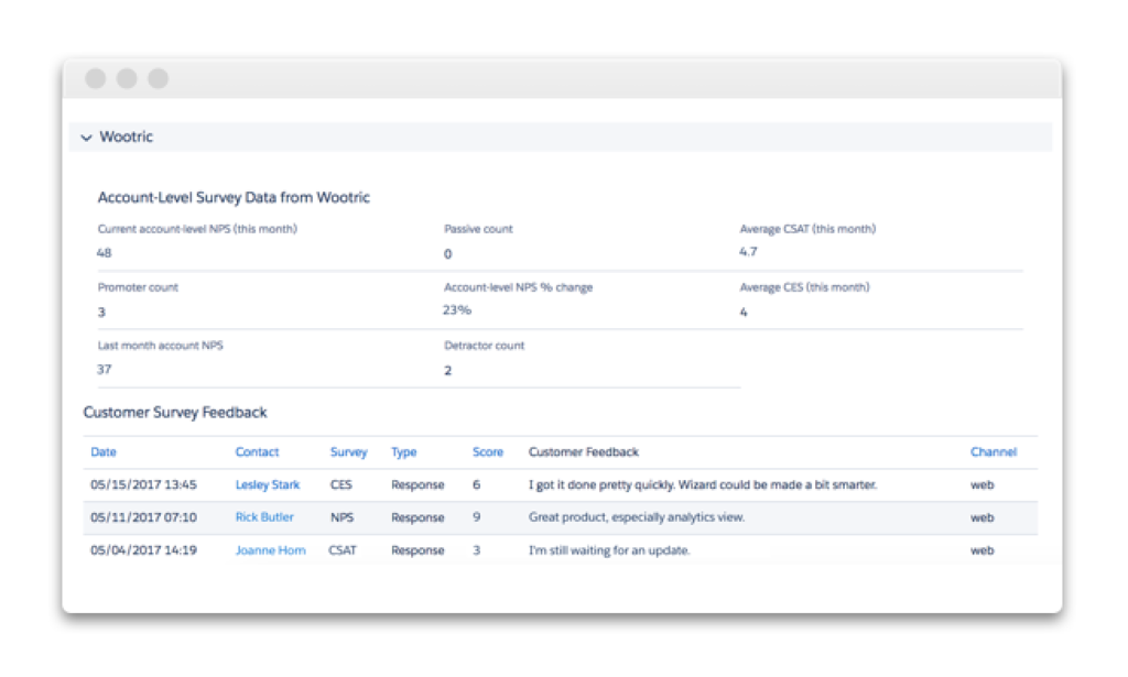 Wootric voice of customer data in Salesforce | account level view