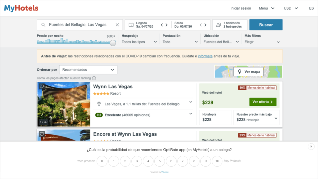 Example of hyper-targeted NPS survey in Spanish in a B2B software for hoteliers