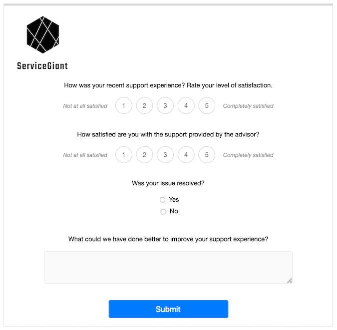 Custom HTML case closure CSAT survey