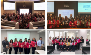 Four photos of Banco Guayaquil employees representing internal teams aligned behind customer experience