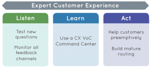 Chart showing actions to take in the Listen Learn Act model for Expert CX